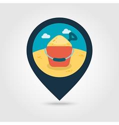 Sand bucket and shovel pin map icon summer vector