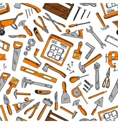 Seamless pattern of construction tools background vector image