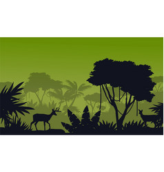Silhouette of deer on the fores scenery vector