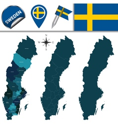 Sweden map with named divisions vector