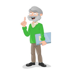 Teacher holding a class catalog vector