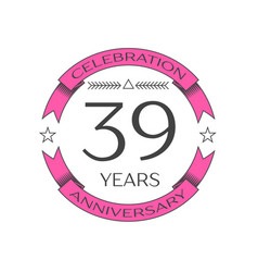 Thirty nine years anniversary celebration logo vector