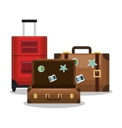 Travel three suitcase vacation design vector