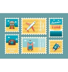 Traveling stamp set Summer Vacation vector image vector image