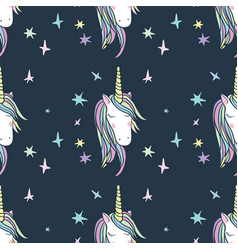 unicorn rainbow seamless pattern vector image