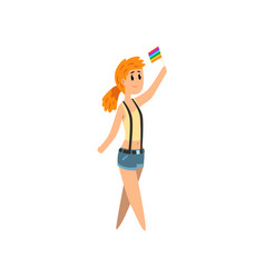young woman holding rainbow flag lgbt pride vector image