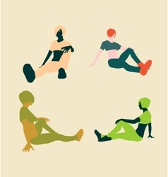 Sporty woman sits on a floor vector