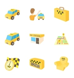 Taxi ride icons set cartoon style vector