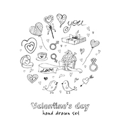 Valentine doodle set with hearts flowers gifts vector