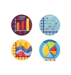 Graphs and diagrams icons set vector image