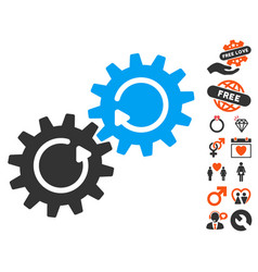 Gear mechanism rotation icon with dating bonus vector