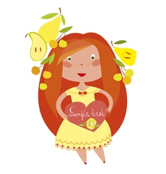 red haired girl vector image