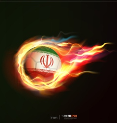 Iran flag with flying soccer ball on fire vector image