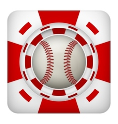 Square red casino chips of baseball sports betting vector