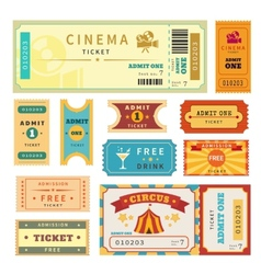 Retro tickets set vector