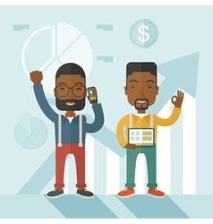 African businesmen with arms up high vector