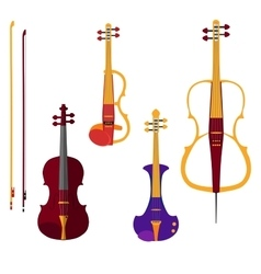 Set of different violins and cello with bows on vector