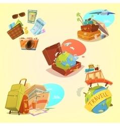 Travel Cartoon Set vector image