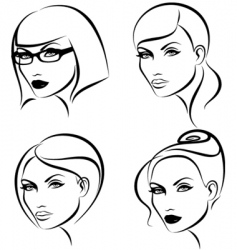 Hairstyles and makeup vector