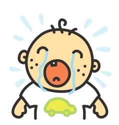 Cartoon crying baby isolated vector