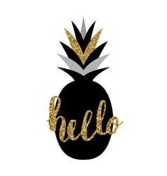 Black and gold pineapple design vector
