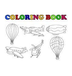 coloring book of air transportation set cartoon vector image