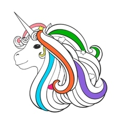 Adult coloring book page with unicorn heart star vector