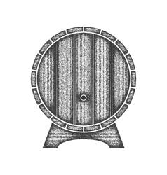 Beer label in form wooden barrel vector