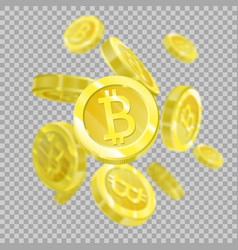 bitcoins on a transparent background isolated vector image