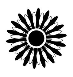 black and white silhouette of a flower vector image vector image