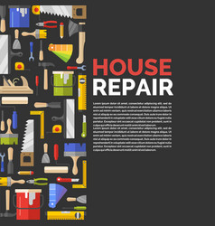 Black poster with tools for house repair vector