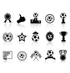 black soccer award icons set vector image vector image