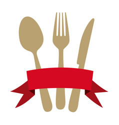 colorful cutlery kitchen elements with red ribbon vector image