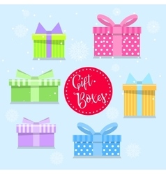 Colorful gift boxes in flat styleLots of presents vector image vector image