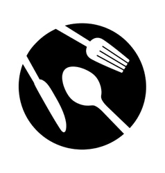 contour plate with cutlery icon image vector image