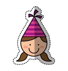 cute girl character with hat party vector image vector image