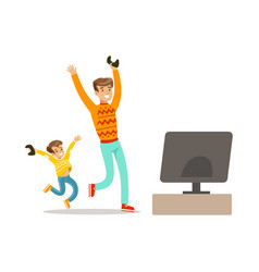 father and son winning console gamepart of happy vector image