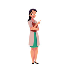 Female doctor in medical coat holding clipboard vector