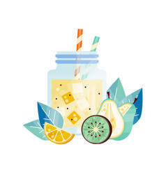 fresh smoothie with lemon kiwi and pear glass vector image