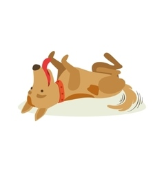 Happy brown pet dog rolling on the back animal vector