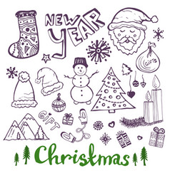 happy new year sketch doodle set christmas vector image vector image