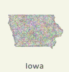 Iowa line art map vector