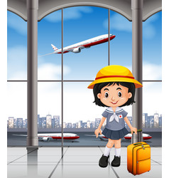 Japanese girl at the airport terminal vector