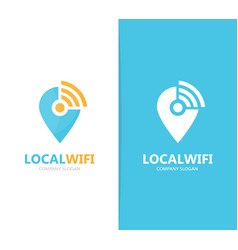 Map pointer and wifi logo combination vector