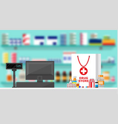 Modern interior pharmacy or drugstore vector