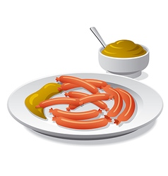 Sausages with mustard vector