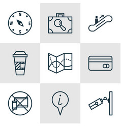 set of 9 traveling icons includes moving vector image vector image