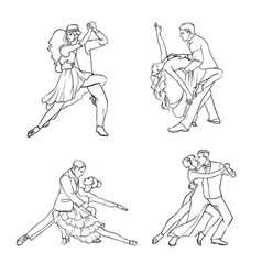 set of a couple dancing tango hand drawn contour vector image vector image