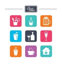 Tea coffee and beer icons Alcohol drinks vector image