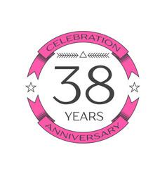 Thirty eight years anniversary celebration logo vector